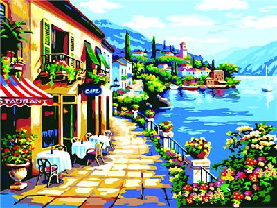 קנבס לצביעה מספר וצבע - מסעדה מול הים
