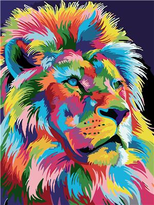 קנבס לצביעה מספר וצבע - אריה עם רעמה לאו...