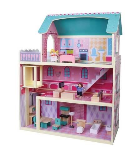 בית בובות רב קומות מעץ הכולל 2 בובות PIT...